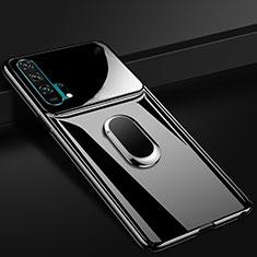 Handyhülle Hülle Kunststoff Schutzhülle Tasche Matt mit Magnetisch Fingerring Ständer P01 für Huawei Honor 20 Pro Schwarz