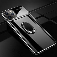 Handyhülle Hülle Kunststoff Schutzhülle Tasche Matt mit Magnetisch Fingerring Ständer P02 für Apple iPhone 11 Pro Max Schwarz
