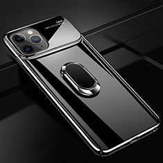 Handyhülle Hülle Kunststoff Schutzhülle Tasche Matt mit Magnetisch Fingerring Ständer P02 für Apple iPhone 11 Pro Schwarz