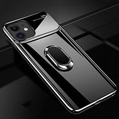 Handyhülle Hülle Kunststoff Schutzhülle Tasche Matt mit Magnetisch Fingerring Ständer P02 für Apple iPhone 11 Schwarz