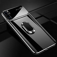 Handyhülle Hülle Kunststoff Schutzhülle Tasche Matt mit Magnetisch Fingerring Ständer P02 für Huawei P30 Pro Schwarz