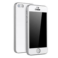Handyhülle Hülle Kunststoff Schutzhülle Tasche Matt Vorder und Rückseite 360 Grad für Apple iPhone 5 Silber