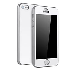 Handyhülle Hülle Kunststoff Schutzhülle Tasche Matt Vorder und Rückseite 360 Grad für Apple iPhone 5S Silber