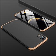 Handyhülle Hülle Kunststoff Schutzhülle Tasche Matt Vorder und Rückseite 360 Grad für Apple iPhone XR Gold und Schwarz