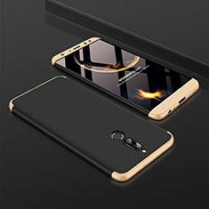 Handyhülle Hülle Kunststoff Schutzhülle Tasche Matt Vorder und Rückseite 360 Grad für Huawei Mate 10 Lite Gold und Schwarz
