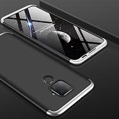 Handyhülle Hülle Kunststoff Schutzhülle Tasche Matt Vorder und Rückseite 360 Grad für Huawei Mate 30 Lite Silber und Schwarz
