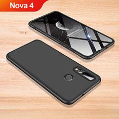 Handyhülle Hülle Kunststoff Schutzhülle Tasche Matt Vorder und Rückseite 360 Grad für Huawei Nova 4 Schwarz
