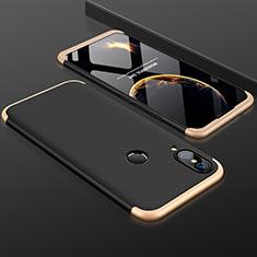 Handyhülle Hülle Kunststoff Schutzhülle Tasche Matt Vorder und Rückseite 360 Grad für Huawei P20 Lite Gold und Schwarz