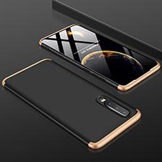 Handyhülle Hülle Kunststoff Schutzhülle Tasche Matt Vorder und Rückseite 360 Grad für Huawei P30 Gold und Schwarz