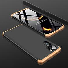 Handyhülle Hülle Kunststoff Schutzhülle Tasche Matt Vorder und Rückseite 360 Grad für Huawei P30 Pro Gold und Schwarz