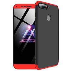 Handyhülle Hülle Kunststoff Schutzhülle Tasche Matt Vorder und Rückseite 360 Grad für Huawei Y6 (2018) Rot und Schwarz