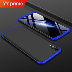 Handyhülle Hülle Kunststoff Schutzhülle Tasche Matt Vorder und Rückseite 360 Grad für Huawei Y7 Prime (2019) Blau und Schwarz