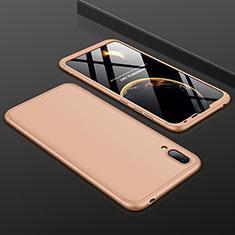 Handyhülle Hülle Kunststoff Schutzhülle Tasche Matt Vorder und Rückseite 360 Grad für Huawei Y7 Prime (2019) Gold