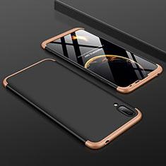 Handyhülle Hülle Kunststoff Schutzhülle Tasche Matt Vorder und Rückseite 360 Grad für Huawei Y7 Prime (2019) Gold und Schwarz