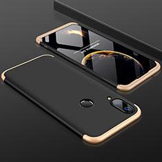 Handyhülle Hülle Kunststoff Schutzhülle Tasche Matt Vorder und Rückseite 360 Grad für Huawei Y9 (2019) Gold und Schwarz