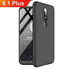 Handyhülle Hülle Kunststoff Schutzhülle Tasche Matt Vorder und Rückseite 360 Grad für Nokia 6.1 Plus Schwarz