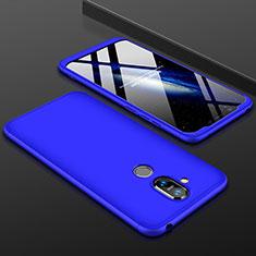 Handyhülle Hülle Kunststoff Schutzhülle Tasche Matt Vorder und Rückseite 360 Grad für Nokia 7.1 Plus Blau