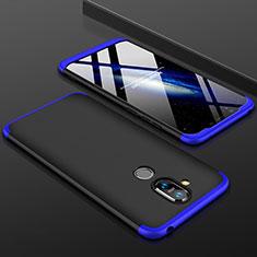 Handyhülle Hülle Kunststoff Schutzhülle Tasche Matt Vorder und Rückseite 360 Grad für Nokia 7.1 Plus Blau und Schwarz