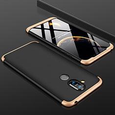 Handyhülle Hülle Kunststoff Schutzhülle Tasche Matt Vorder und Rückseite 360 Grad für Nokia 7.1 Plus Gold und Schwarz