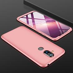 Handyhülle Hülle Kunststoff Schutzhülle Tasche Matt Vorder und Rückseite 360 Grad für Nokia 7.1 Plus Rosegold