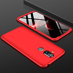 Handyhülle Hülle Kunststoff Schutzhülle Tasche Matt Vorder und Rückseite 360 Grad für Nokia 7.1 Plus Rot