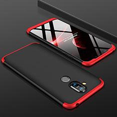 Handyhülle Hülle Kunststoff Schutzhülle Tasche Matt Vorder und Rückseite 360 Grad für Nokia X7 Rot und Schwarz