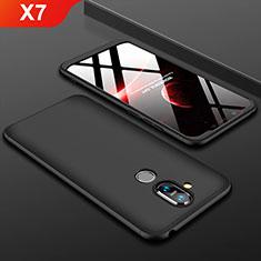 Handyhülle Hülle Kunststoff Schutzhülle Tasche Matt Vorder und Rückseite 360 Grad für Nokia X7 Schwarz