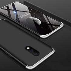 Handyhülle Hülle Kunststoff Schutzhülle Tasche Matt Vorder und Rückseite 360 Grad für OnePlus 7 Silber und Schwarz