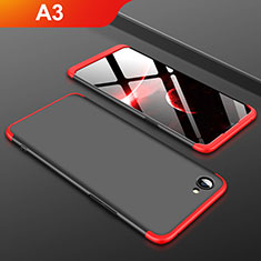 Handyhülle Hülle Kunststoff Schutzhülle Tasche Matt Vorder und Rückseite 360 Grad für Oppo A3 Rot und Schwarz