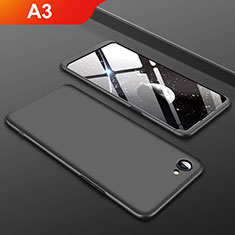 Handyhülle Hülle Kunststoff Schutzhülle Tasche Matt Vorder und Rückseite 360 Grad für Oppo A3 Schwarz