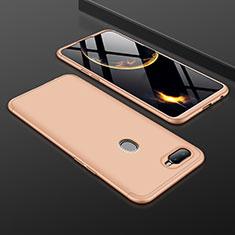 Handyhülle Hülle Kunststoff Schutzhülle Tasche Matt Vorder und Rückseite 360 Grad für Oppo A7 Gold
