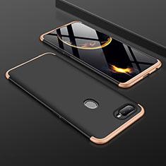 Handyhülle Hülle Kunststoff Schutzhülle Tasche Matt Vorder und Rückseite 360 Grad für Oppo A7 Gold und Schwarz