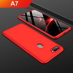 Handyhülle Hülle Kunststoff Schutzhülle Tasche Matt Vorder und Rückseite 360 Grad für Oppo A7 Rot