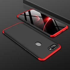 Handyhülle Hülle Kunststoff Schutzhülle Tasche Matt Vorder und Rückseite 360 Grad für Oppo A7 Rot und Schwarz