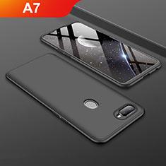 Handyhülle Hülle Kunststoff Schutzhülle Tasche Matt Vorder und Rückseite 360 Grad für Oppo A7 Schwarz