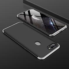 Handyhülle Hülle Kunststoff Schutzhülle Tasche Matt Vorder und Rückseite 360 Grad für Oppo A7 Silber