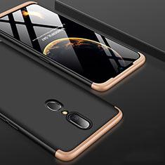 Handyhülle Hülle Kunststoff Schutzhülle Tasche Matt Vorder und Rückseite 360 Grad für Oppo A9 Gold und Schwarz