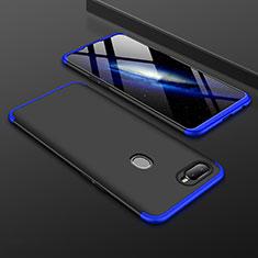 Handyhülle Hülle Kunststoff Schutzhülle Tasche Matt Vorder und Rückseite 360 Grad für Oppo AX7 Blau und Schwarz