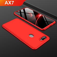 Handyhülle Hülle Kunststoff Schutzhülle Tasche Matt Vorder und Rückseite 360 Grad für Oppo AX7 Rot