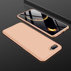 Handyhülle Hülle Kunststoff Schutzhülle Tasche Matt Vorder und Rückseite 360 Grad für Oppo R15X Gold