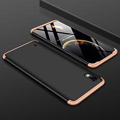 Handyhülle Hülle Kunststoff Schutzhülle Tasche Matt Vorder und Rückseite 360 Grad für Samsung Galaxy A10 Gold und Schwarz