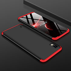 Handyhülle Hülle Kunststoff Schutzhülle Tasche Matt Vorder und Rückseite 360 Grad für Samsung Galaxy A10 Rot und Schwarz