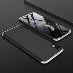 Handyhülle Hülle Kunststoff Schutzhülle Tasche Matt Vorder und Rückseite 360 Grad für Samsung Galaxy A10 Silber und Schwarz