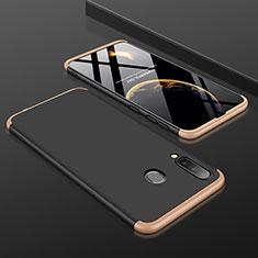 Handyhülle Hülle Kunststoff Schutzhülle Tasche Matt Vorder und Rückseite 360 Grad für Samsung Galaxy A30 Gold und Schwarz