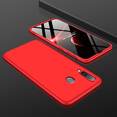 Handyhülle Hülle Kunststoff Schutzhülle Tasche Matt Vorder und Rückseite 360 Grad für Samsung Galaxy A30 Rot