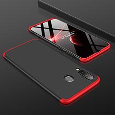 Handyhülle Hülle Kunststoff Schutzhülle Tasche Matt Vorder und Rückseite 360 Grad für Samsung Galaxy A30 Rot und Schwarz