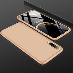 Handyhülle Hülle Kunststoff Schutzhülle Tasche Matt Vorder und Rückseite 360 Grad für Samsung Galaxy A50 Gold