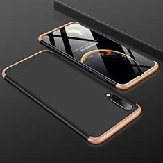 Handyhülle Hülle Kunststoff Schutzhülle Tasche Matt Vorder und Rückseite 360 Grad für Samsung Galaxy A50 Gold und Schwarz