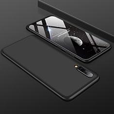 Handyhülle Hülle Kunststoff Schutzhülle Tasche Matt Vorder und Rückseite 360 Grad für Samsung Galaxy A50 Schwarz