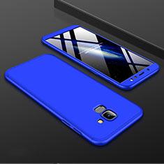Handyhülle Hülle Kunststoff Schutzhülle Tasche Matt Vorder und Rückseite 360 Grad für Samsung Galaxy A6 (2018) Blau